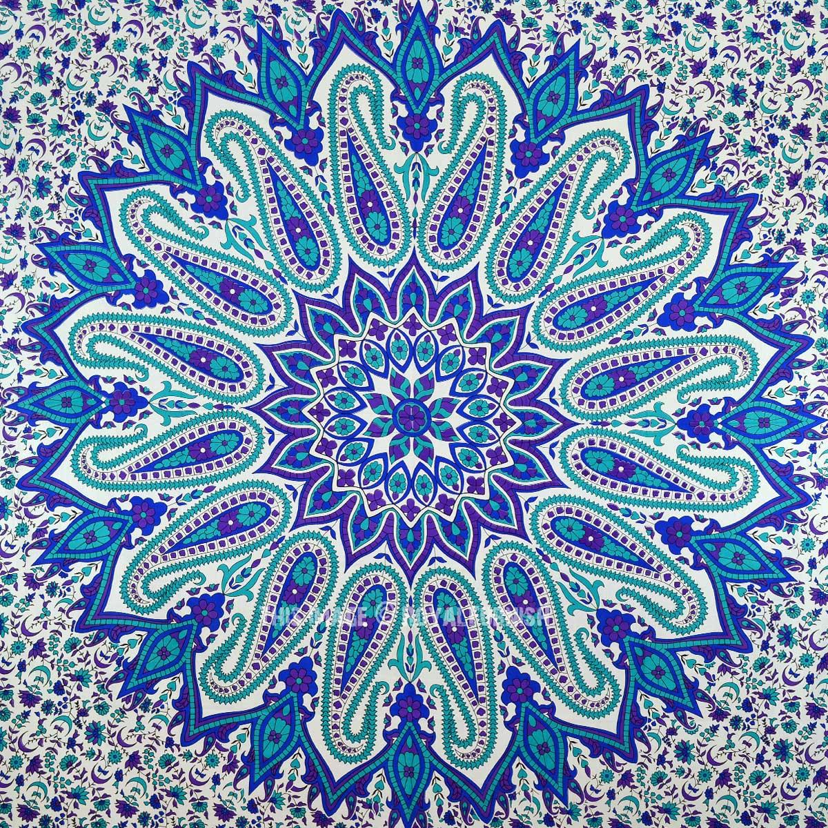 Large Purple Floral Paisley Circle Mandala Wall Tapestry