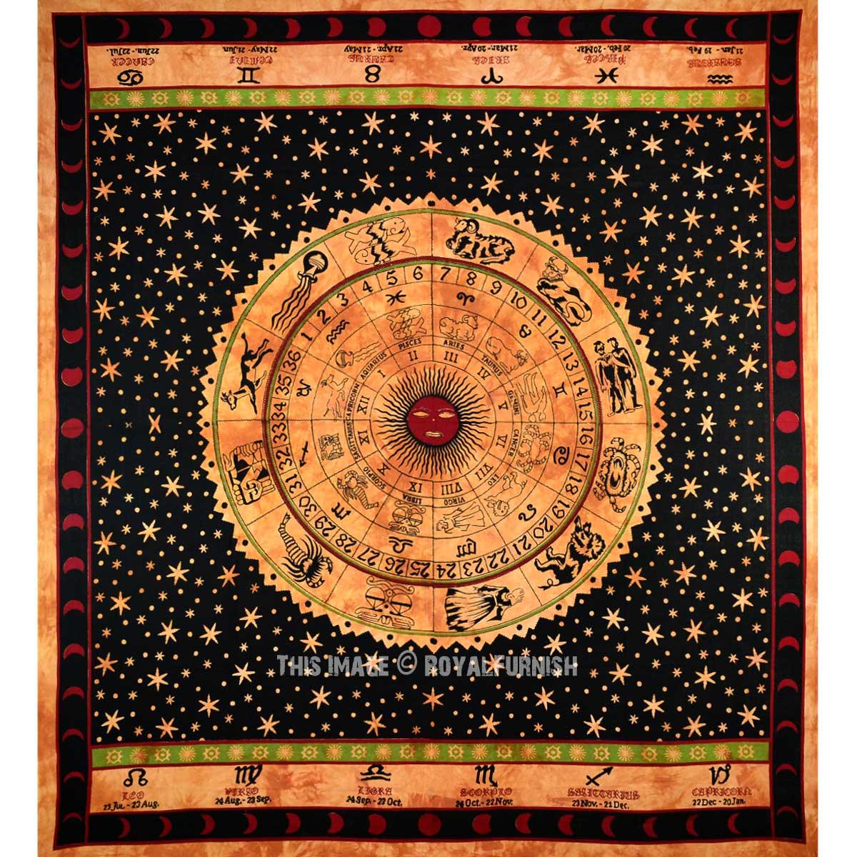 Brown Amp Black Zodiac Horoscope Tapestry Astrology