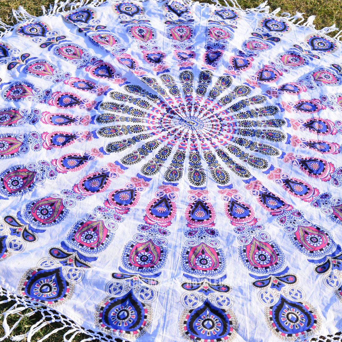 Blue And White Peafowl Mandala Roundie Beach Towel