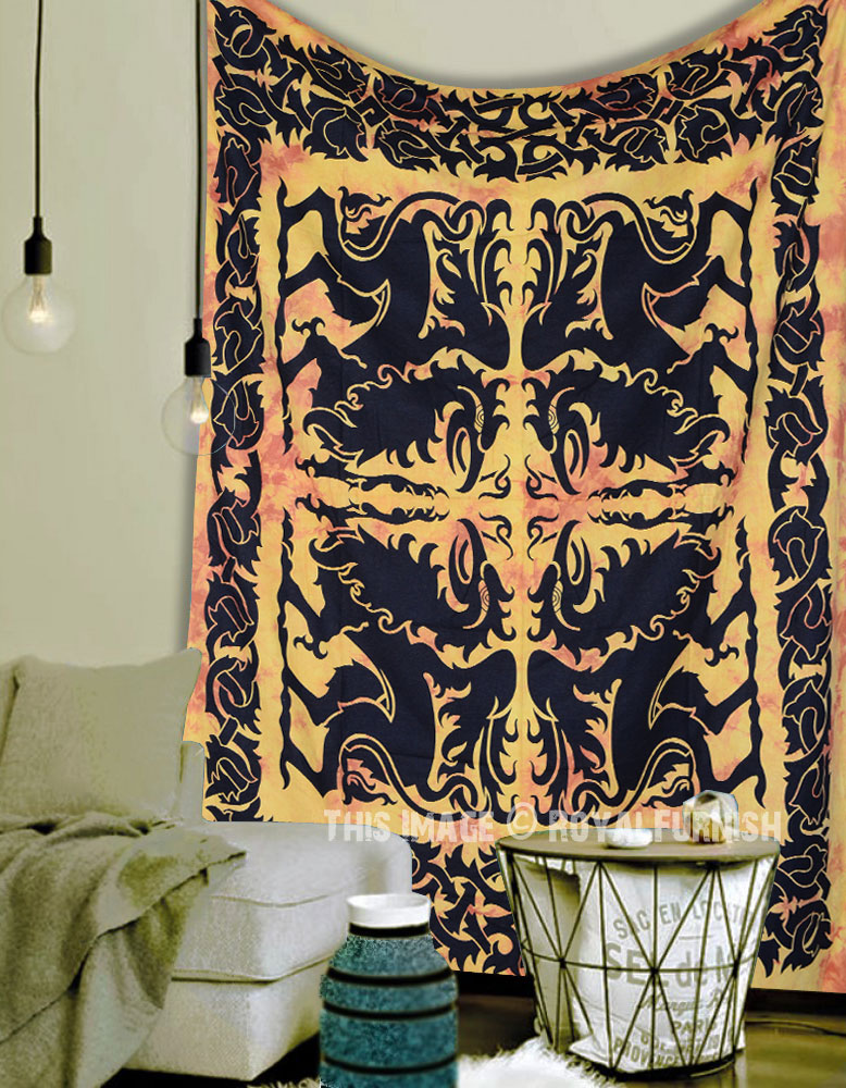 Yellow Multi Four Chinese Dragons Cotton Fabric Tapestry