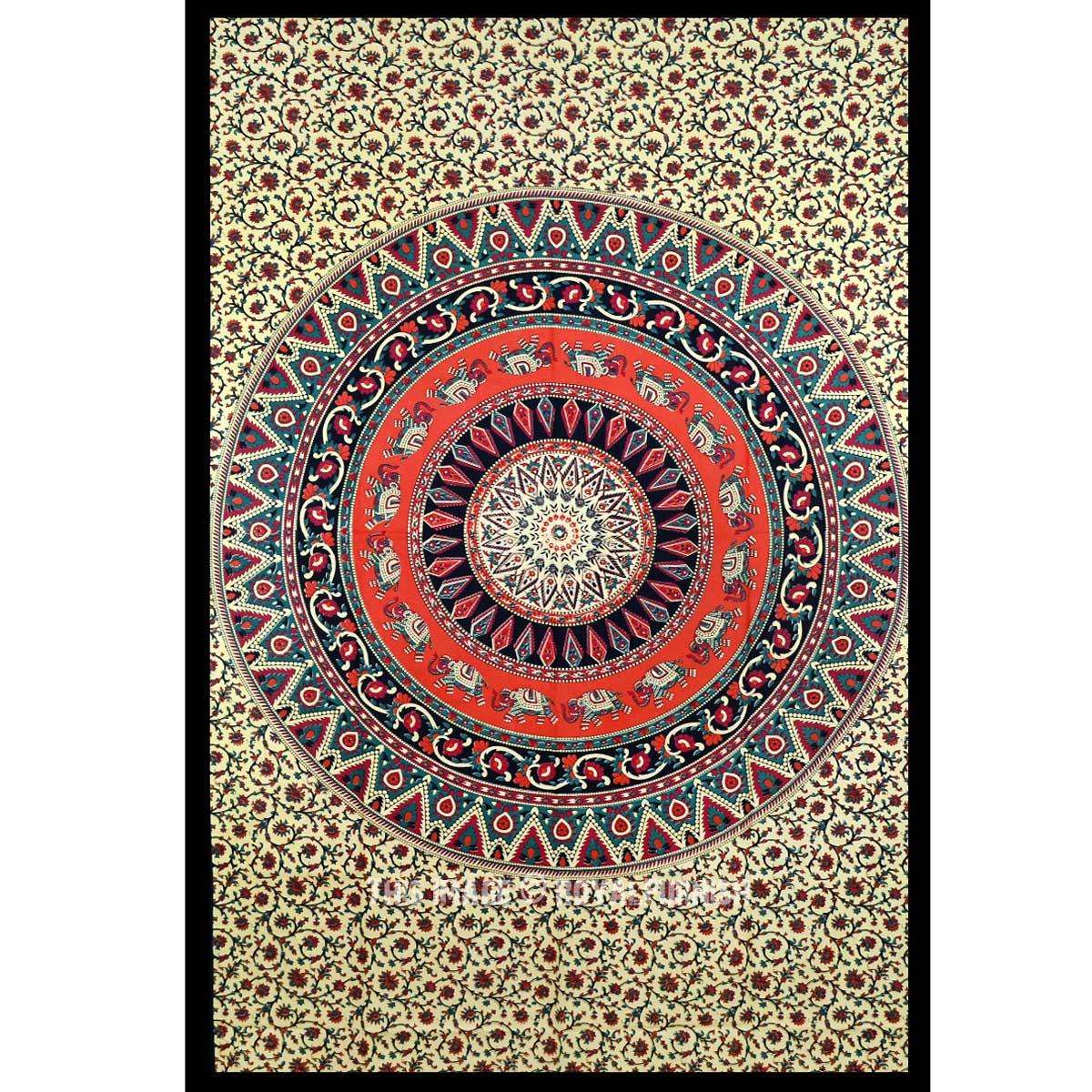 Beige Elephant Wheels Medallion Circle Tapestry Mandala