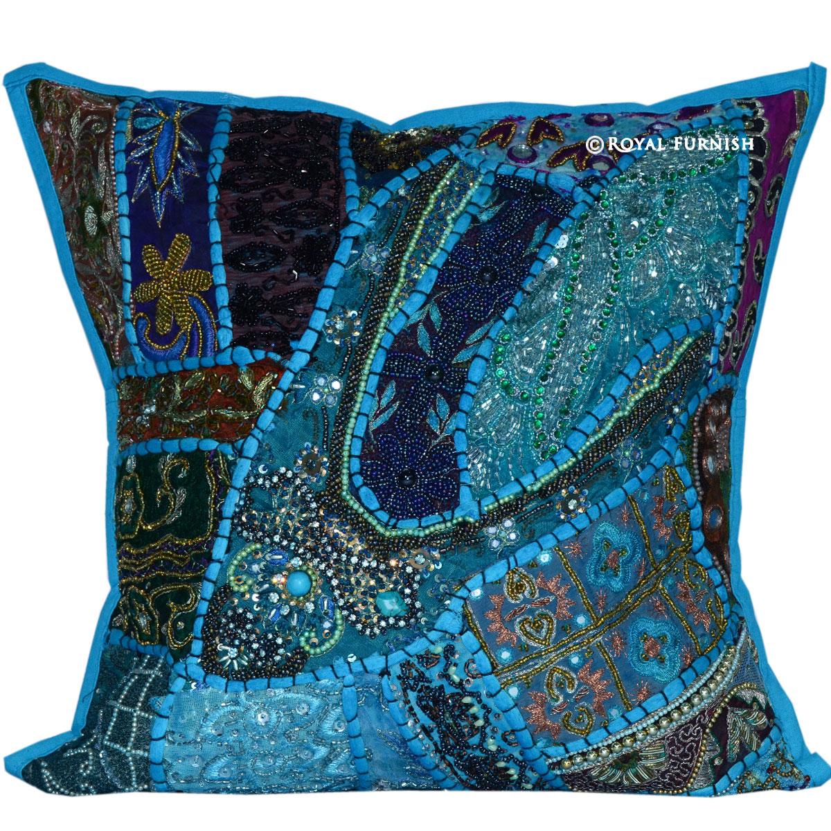 Blue Beaded Throw Pillows : 16