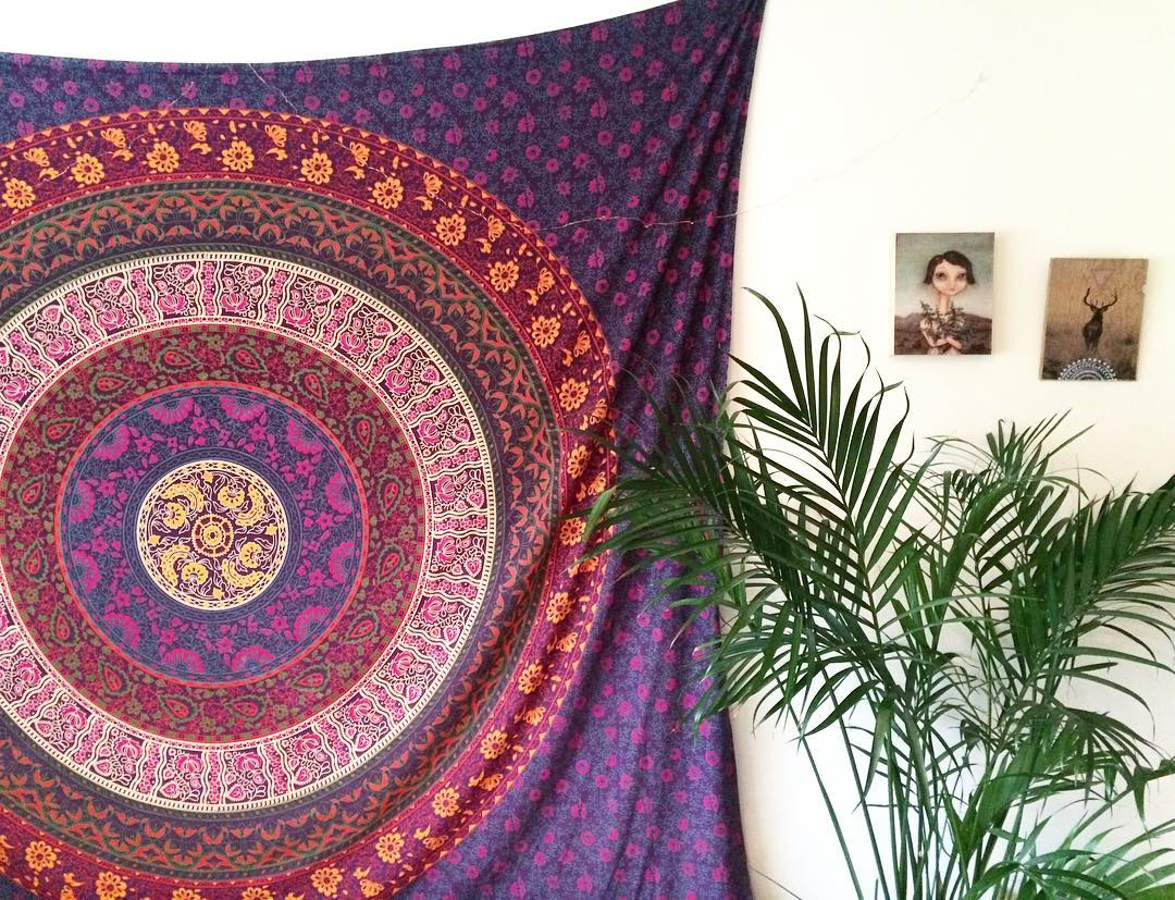 Purple Plum Amp Bow Medallion Mandala Hippie Tapestry