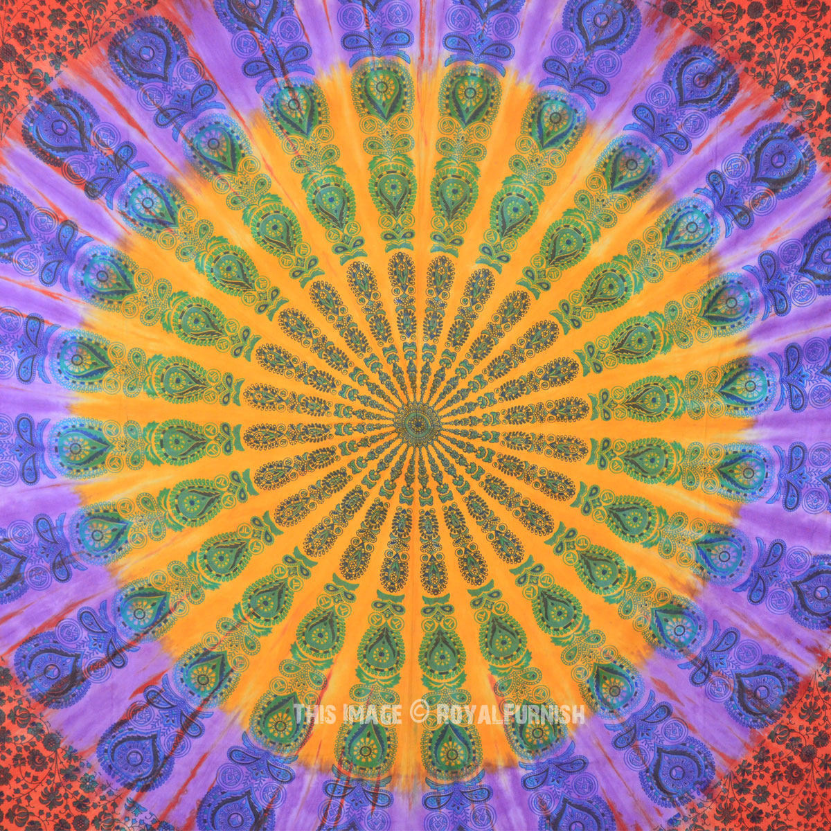 Large Multicolor Psychedelic Floral Mandala Tie Dye Hippie Tapestry ...