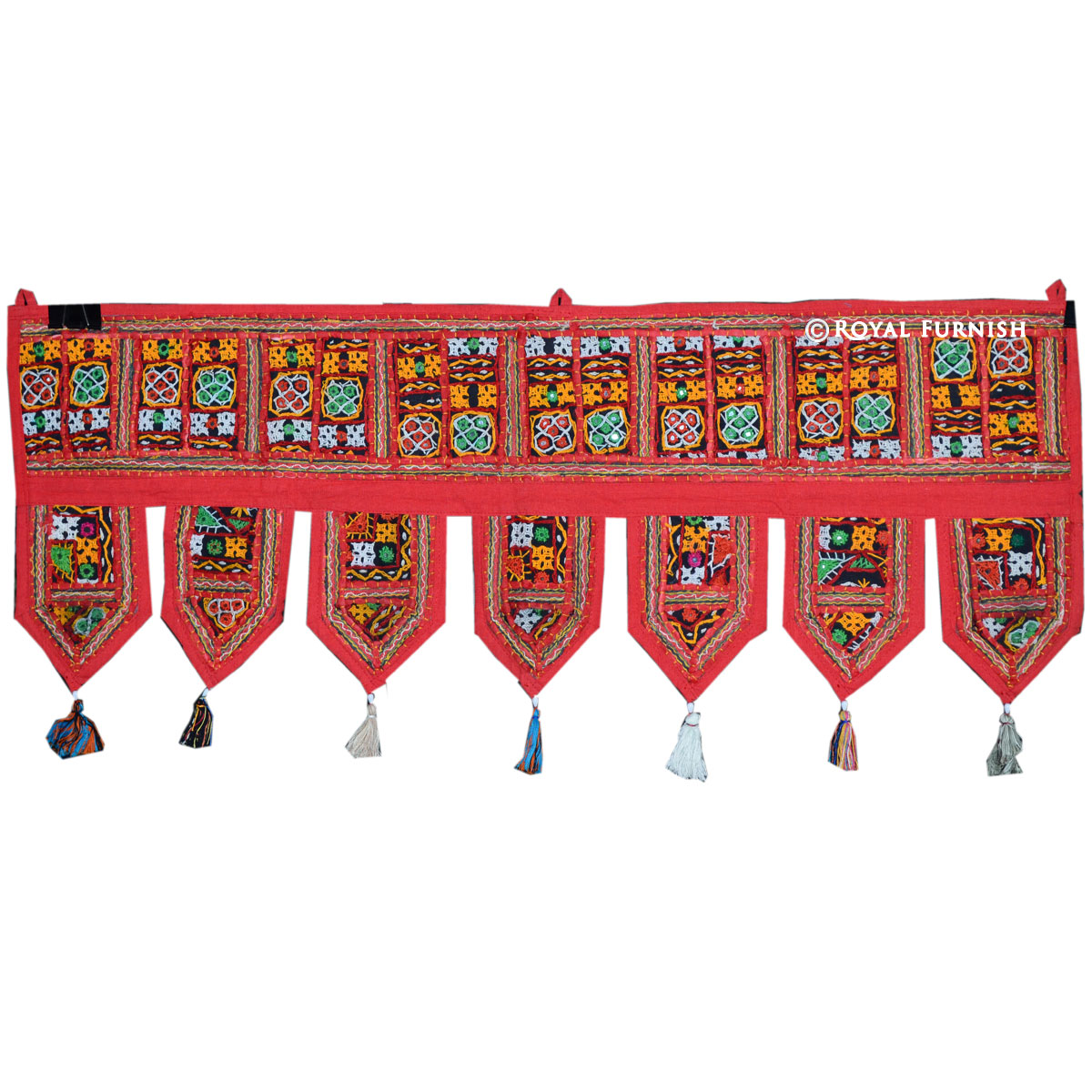 Indian Gujrati Red Mirror Embroidered Toran Window Door