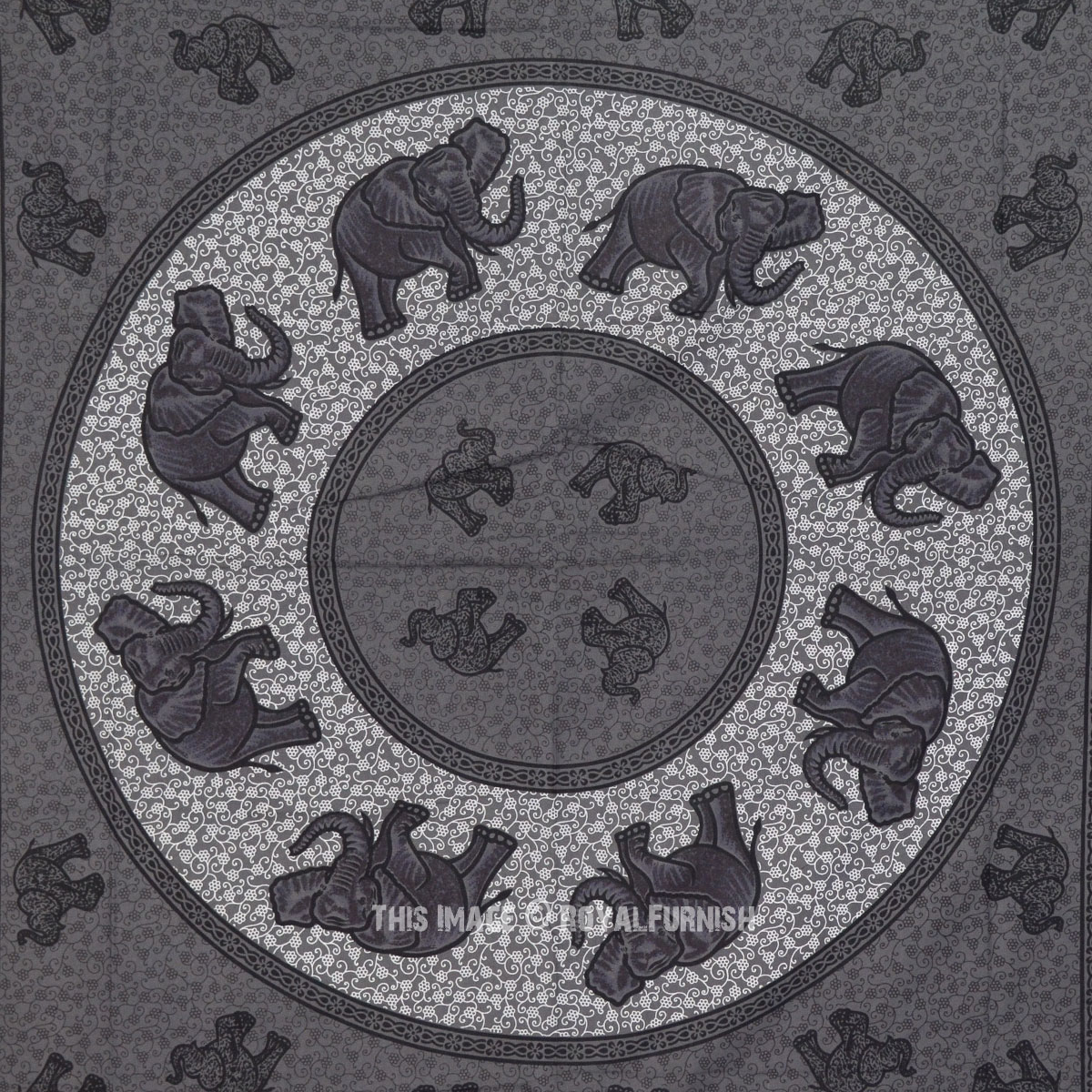 gray queen indian elephant mandala hippie tapestry wall hanging bedspread. Black Bedroom Furniture Sets. Home Design Ideas