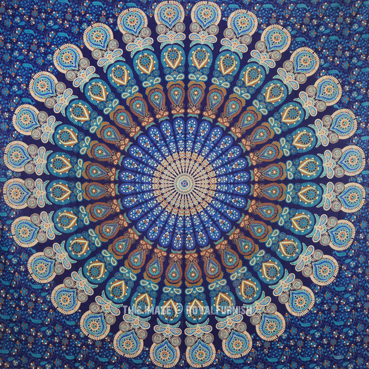 Blue Indian Psychedelic Plum And Bow Medallion Tapestry