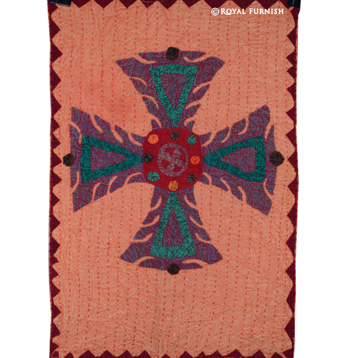 Vintage Patchwork Knights Templar Hand Stitched Fabric