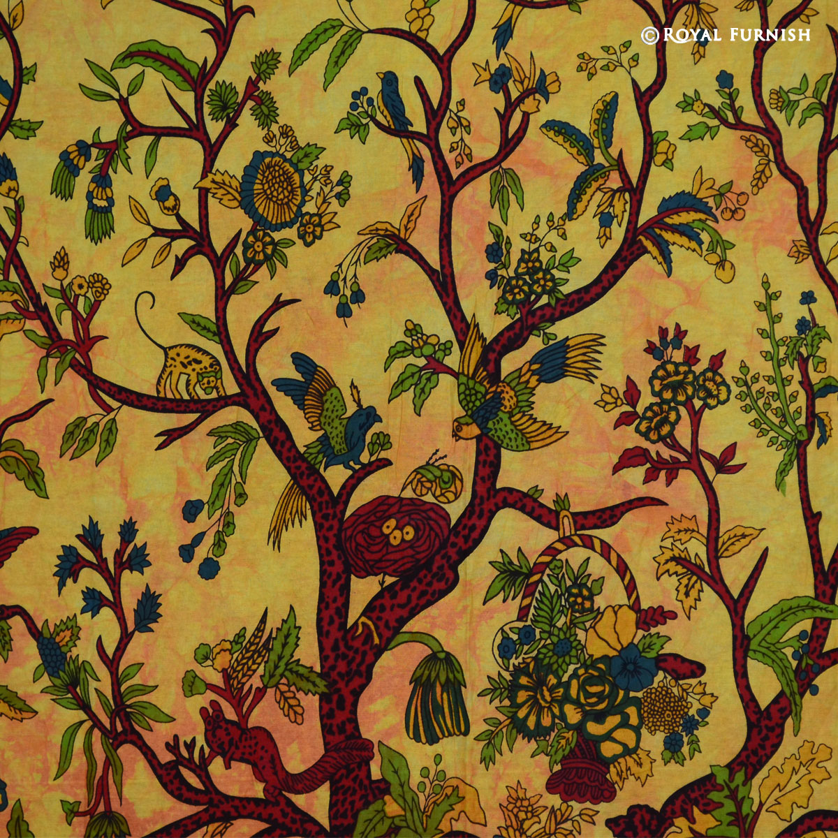 Yellow Twin Indian Tree Of Life Fabric Tapestry Wall Hanging Decor ...