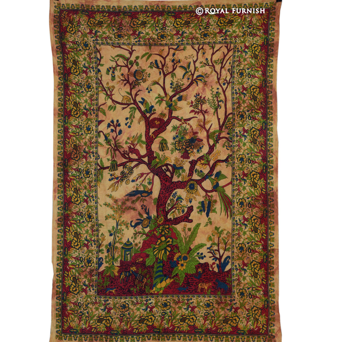Brown Twin Tree Of Life Cotton Fabric Tapestry Wall