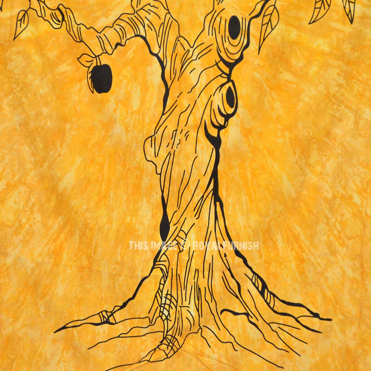 Yellow Twin Size Tie Dye Apple Tree of Life Wall Tapestry Bedspread ...