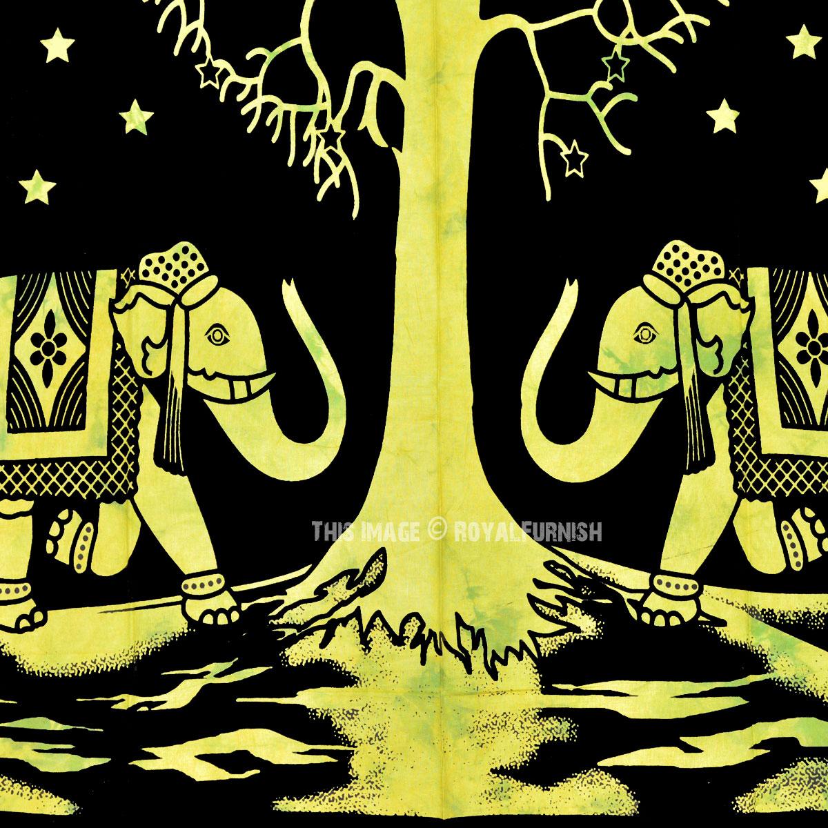 Black & Green Elephant Love Tree Wall Tapestry, Indian Tie Dye Sheet ...