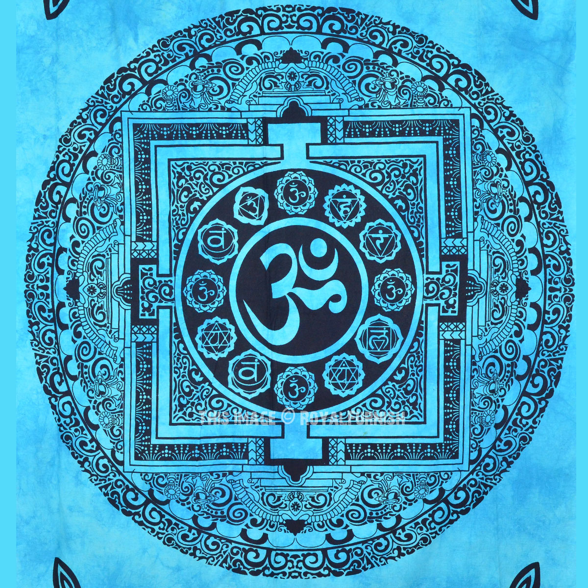 Turquoise Blue Hindu Om Aum Wall Tapestry Tie Dye Indian
