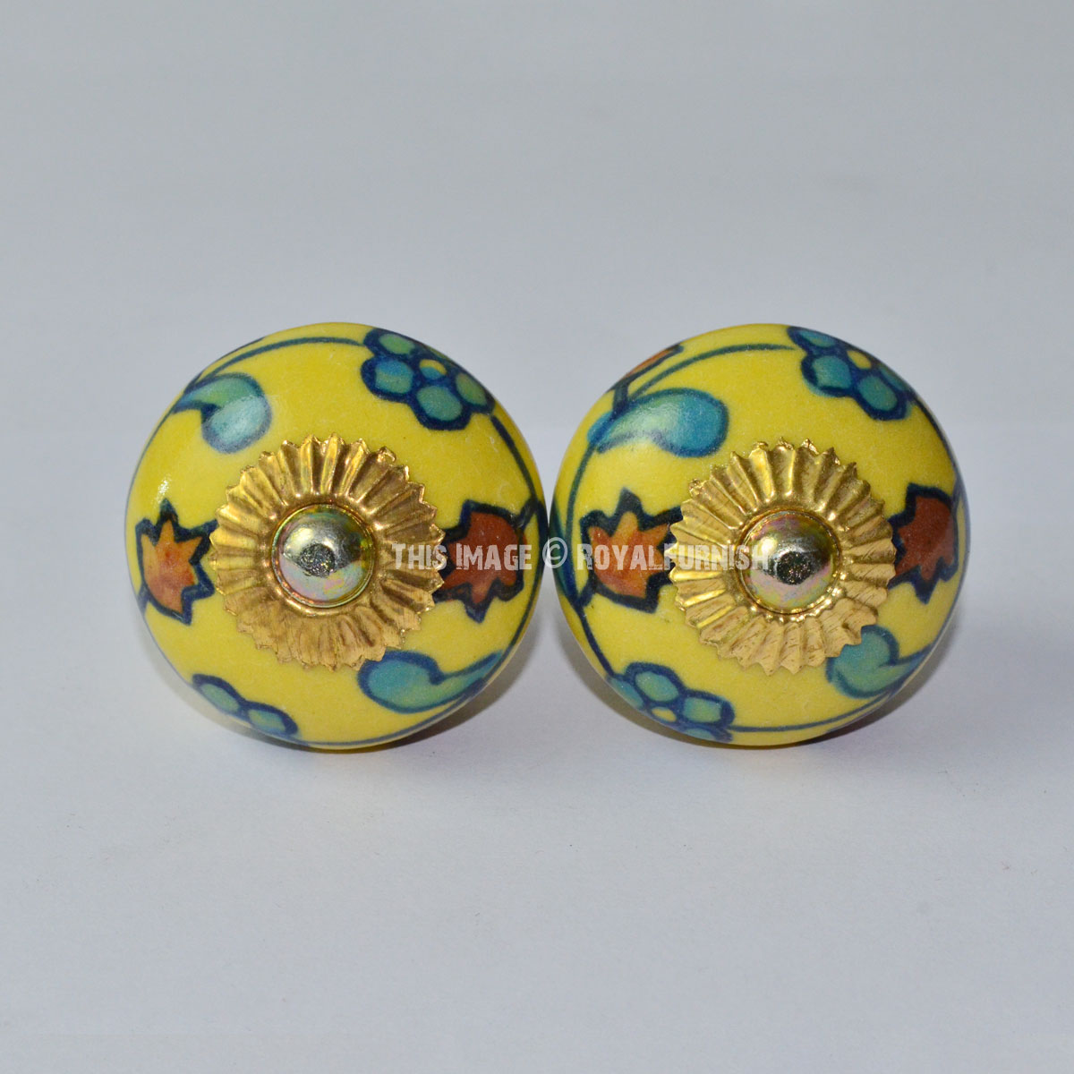 Set Of 2 Yellow Multi Hand Painted Flower Ceramic Door