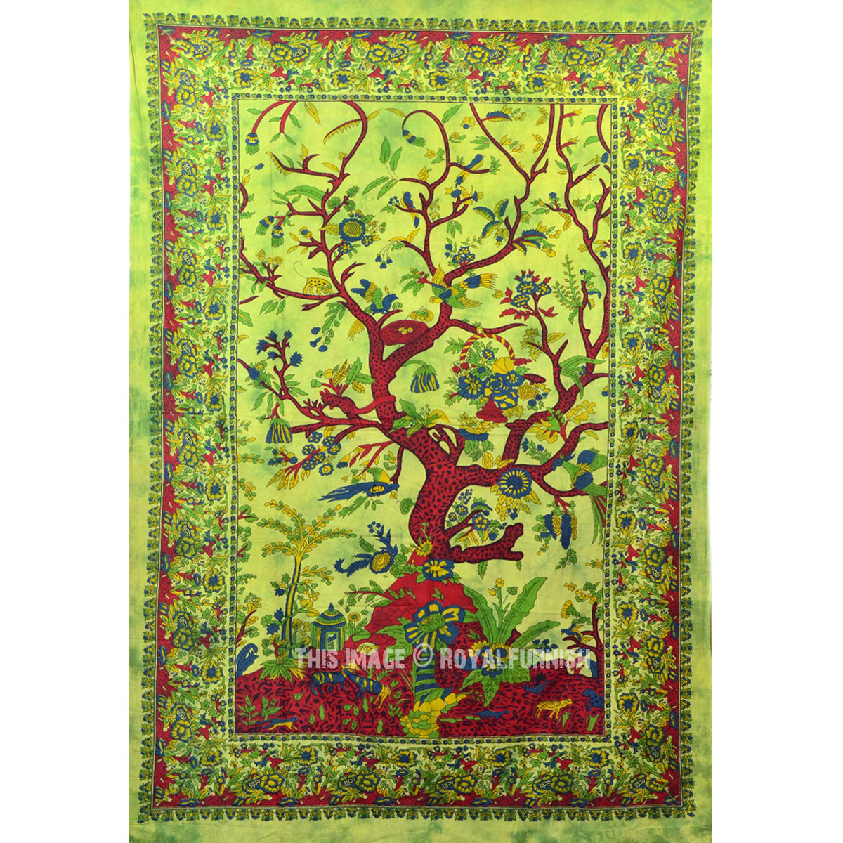 Green Cotton Fabric Tree Of Life Wall Tapestry Indian