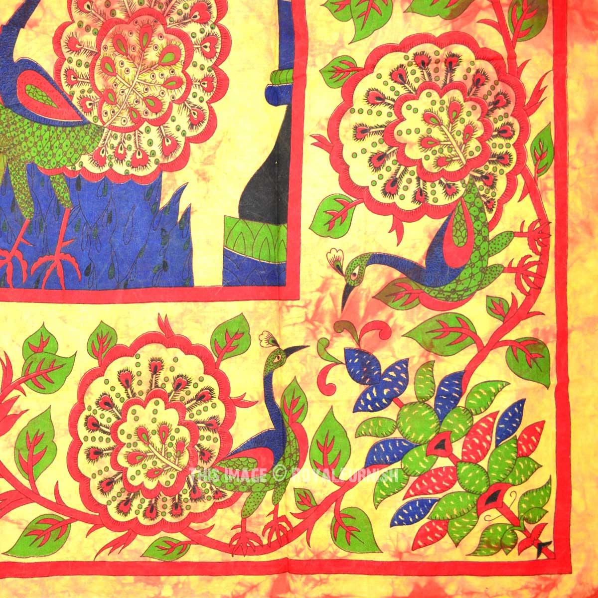 Twin Size Orange Temple Tree Wall Tapestry, Indian Tie Dye Bedspread ...