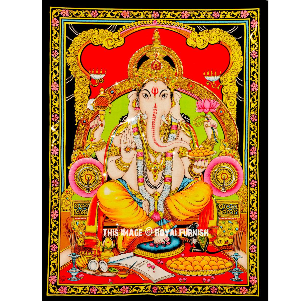 Colorful Hindu God Deity Ganesha Fabric Poster Size