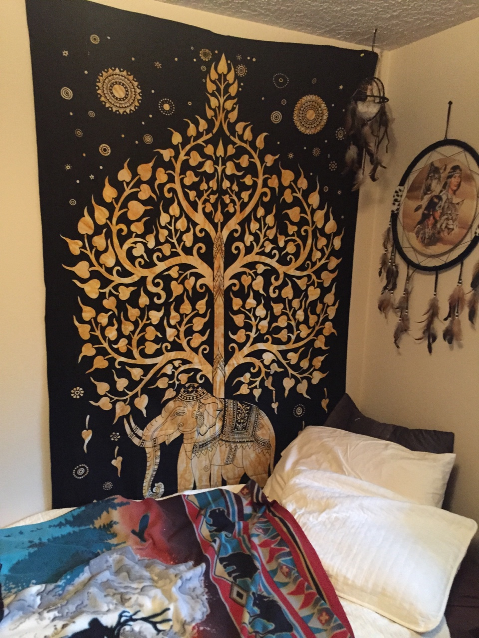 Black Multi Elephant And Tree Of Life Wall Tapestry Tie Dye Sheet Bedding