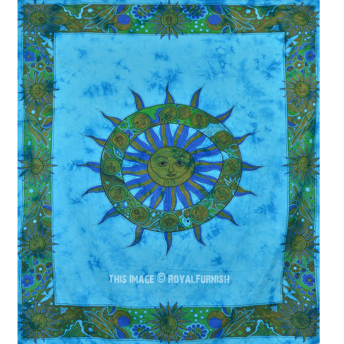 Turquoise Blue Tie Dye Sun Tapestry Wall Hanging Royalfurnish Com