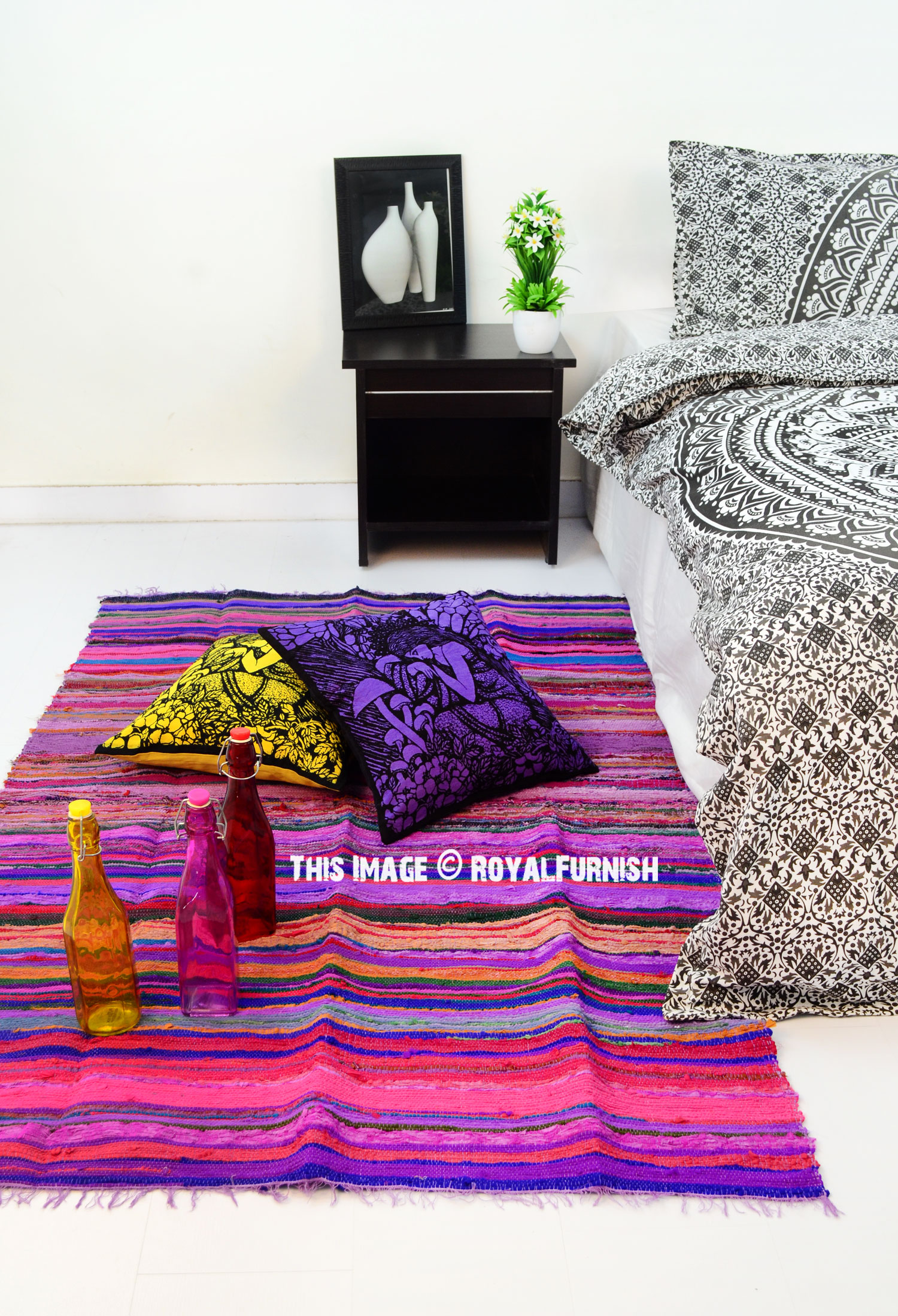 Purple Chindi Area Rug 3 6 Quot X 6 5 Quot Ft Royalfurnish Com
