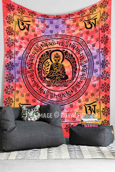 Red Om Buddha Sitting On Lotus Tapestry Tie Dye