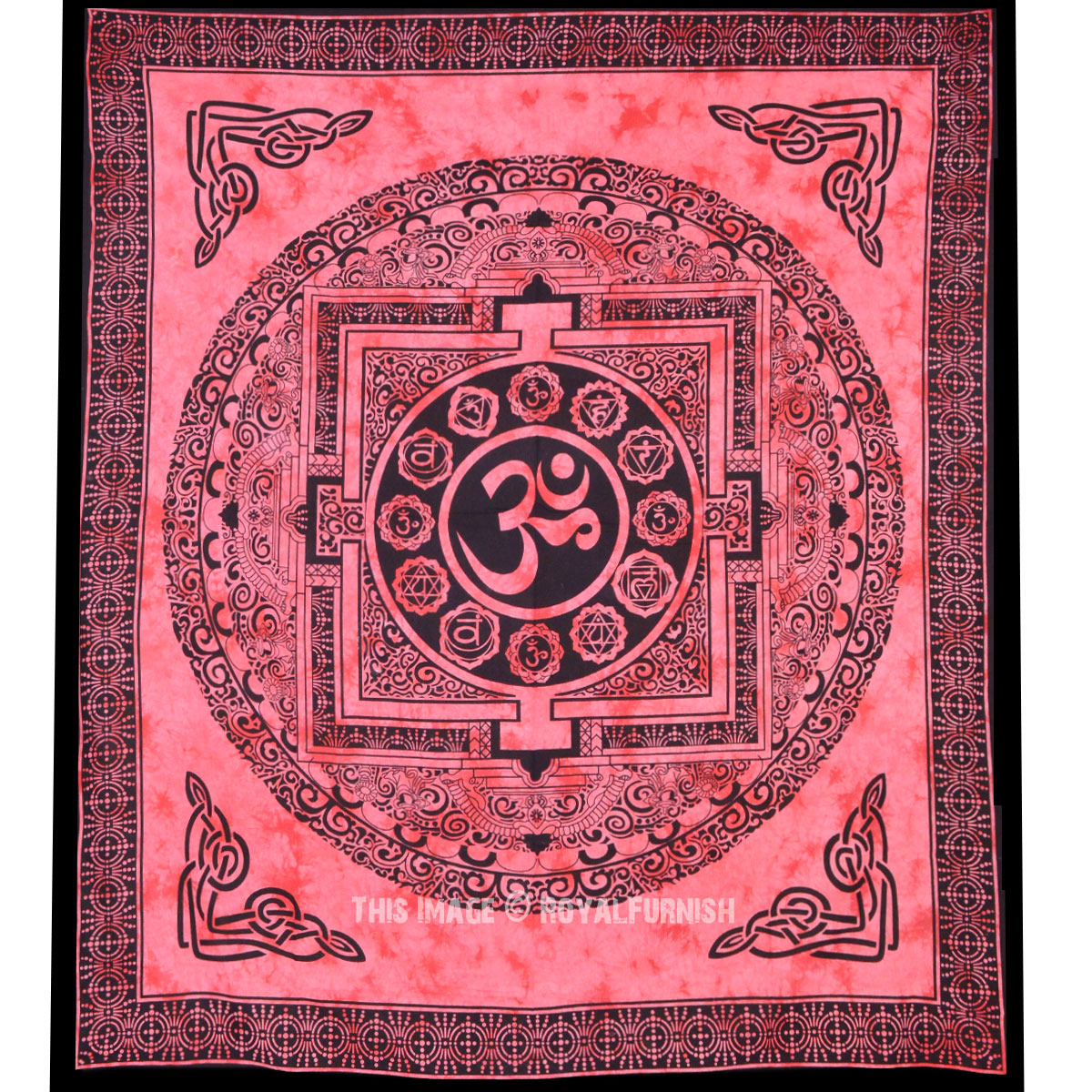 Large Tibetan Style Om Tapestry Aum Tie Dye Tapestry Wall