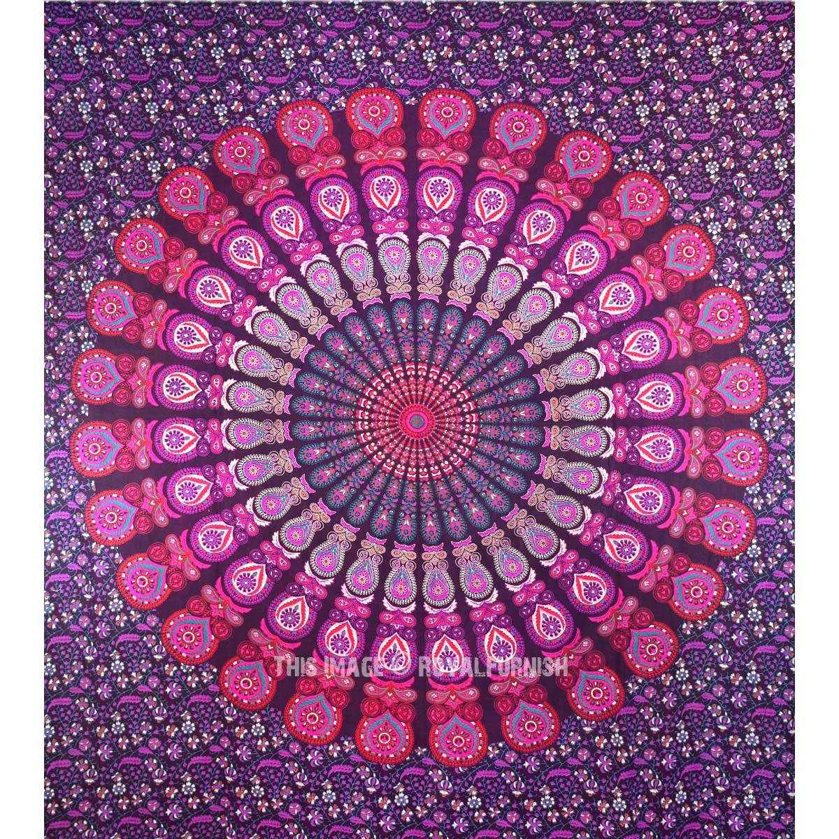 Indian Pink Floral Tapestry Bohemian Bedspread Dorm Decor Bedding Tapestry