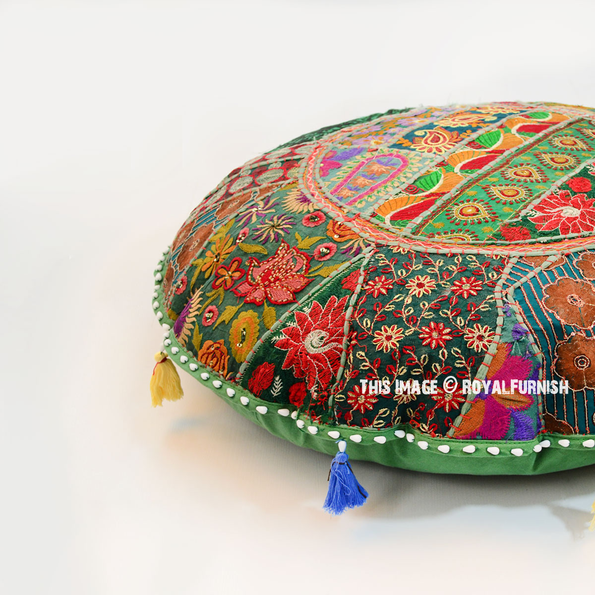 Oversized Round Floor Pillows : Oversized 71 Cm. Vintage Patchwork Round Floor Seating Pillow Cover - RoyalFurnish.com