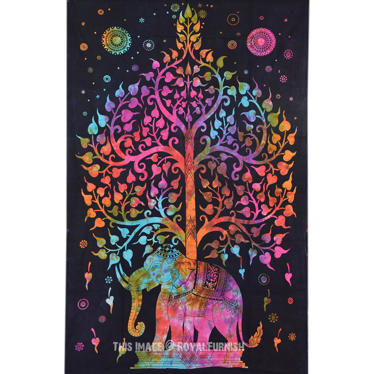 Small Size Multicolor Elephant Amp Tree Of Life Tie Dye