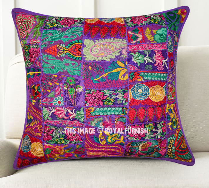 Giant Purple Decorative Patchwork Bohemian Throw Pillow Cover 24x24 Inch