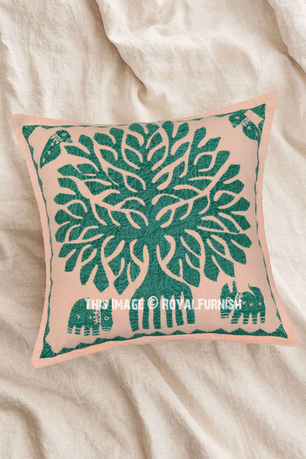 16x16 Boho Chic Style Indian Bohemian Tree Of Life Throw Pillow Cover Sham