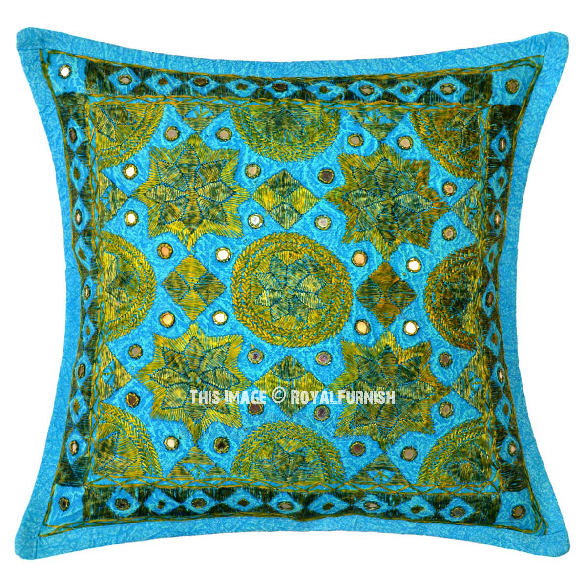 Turquoise Blue Decorative Star Mirrored Square Throw Pillow Cover 16X16 - RoyalFurnish.com