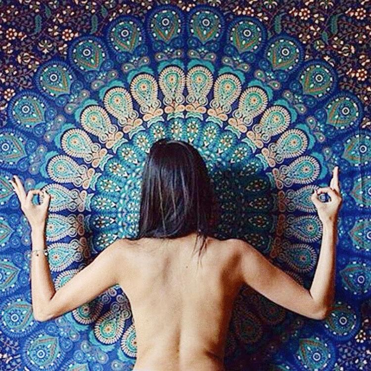Twin Indian Blue Hippie Mandala Tapestry Wall Hanging Boho Gypsy Decor