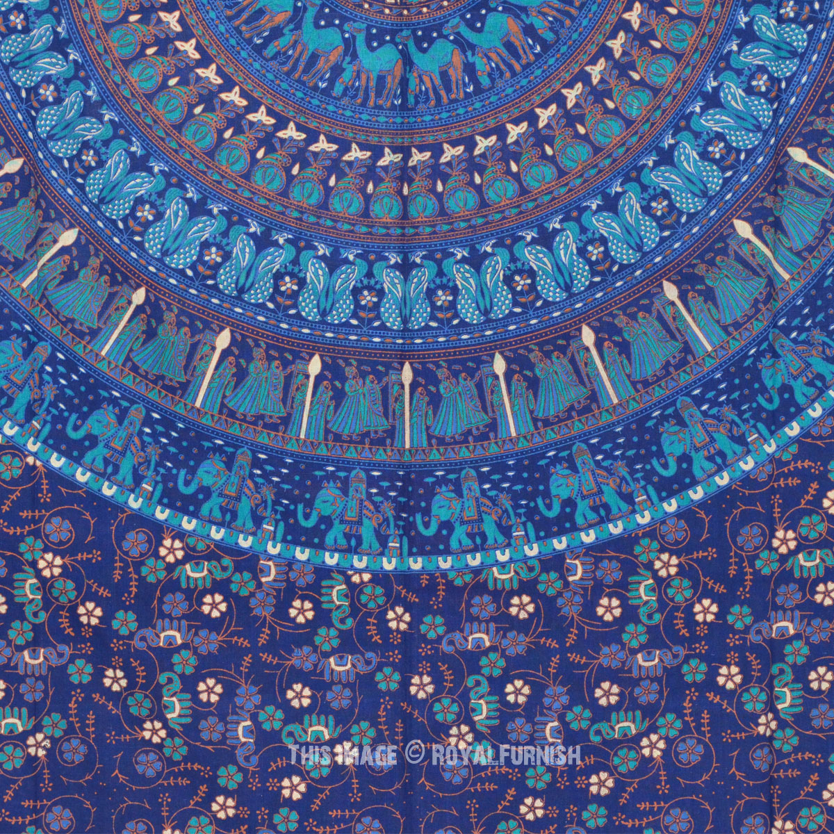 Twin Blue Boho Chic Style Outdoor Indoor Mandala Bohemian