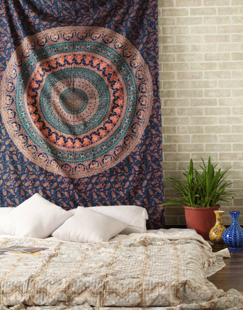 Blue Indian Boho Style Psychedelic Bohemian Tapestry