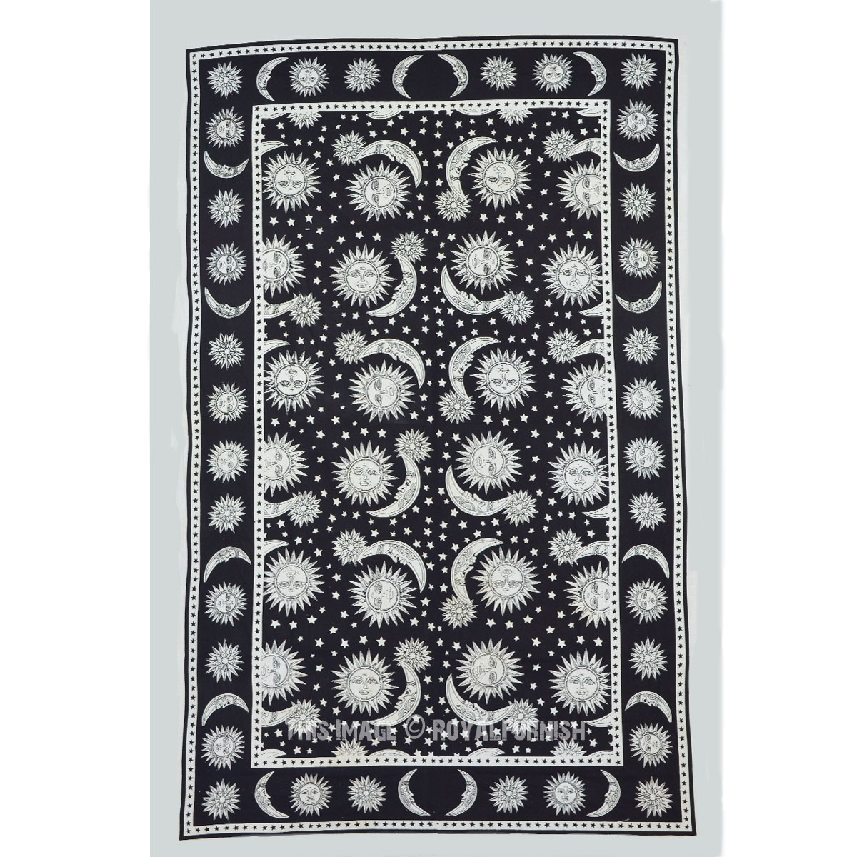 Twin Black And White Psychedelic Celestial Sun Moon