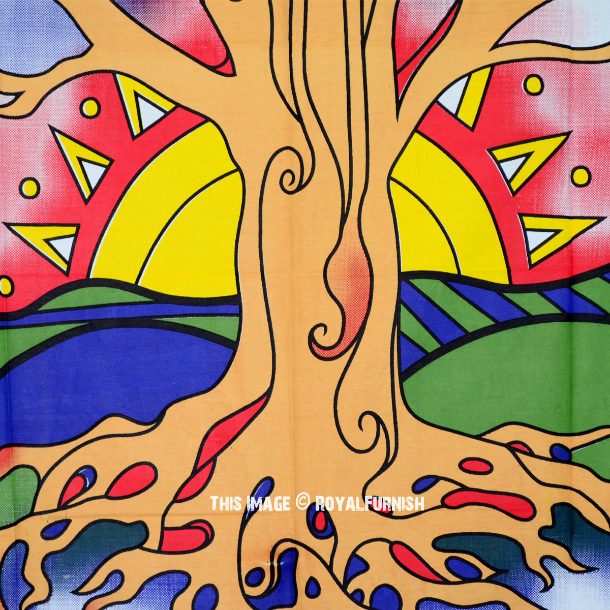 Twin Twilight Desert Tree of Life Cotton Canvas Printed Tapestry ...