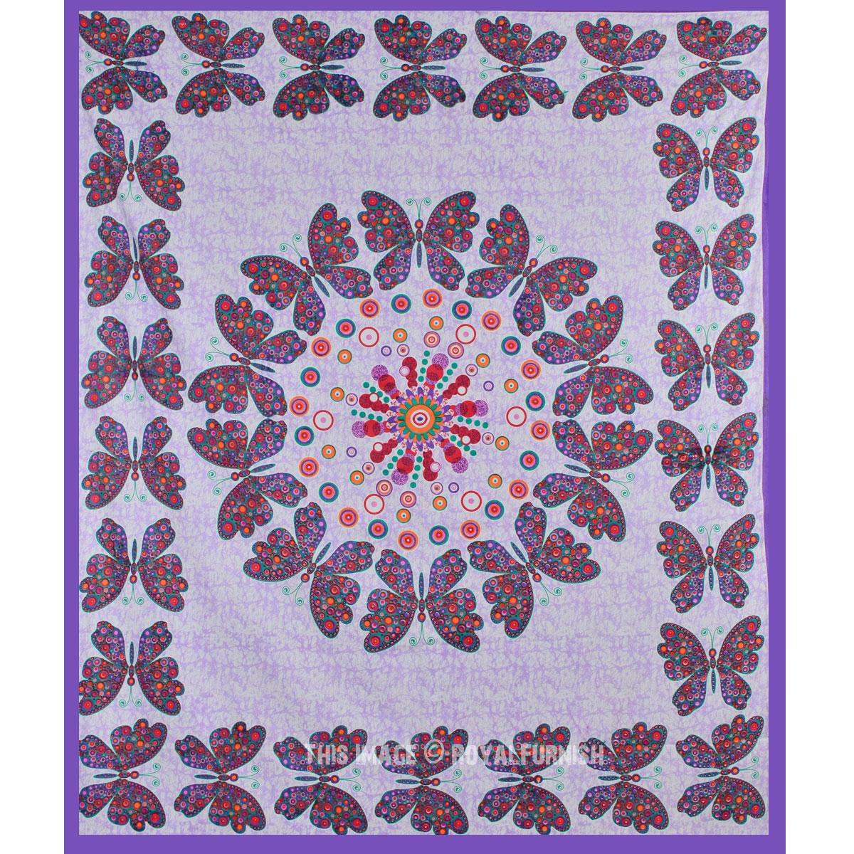 Purple Multicolor Butterfly Wall Decor Mandala Tapestry