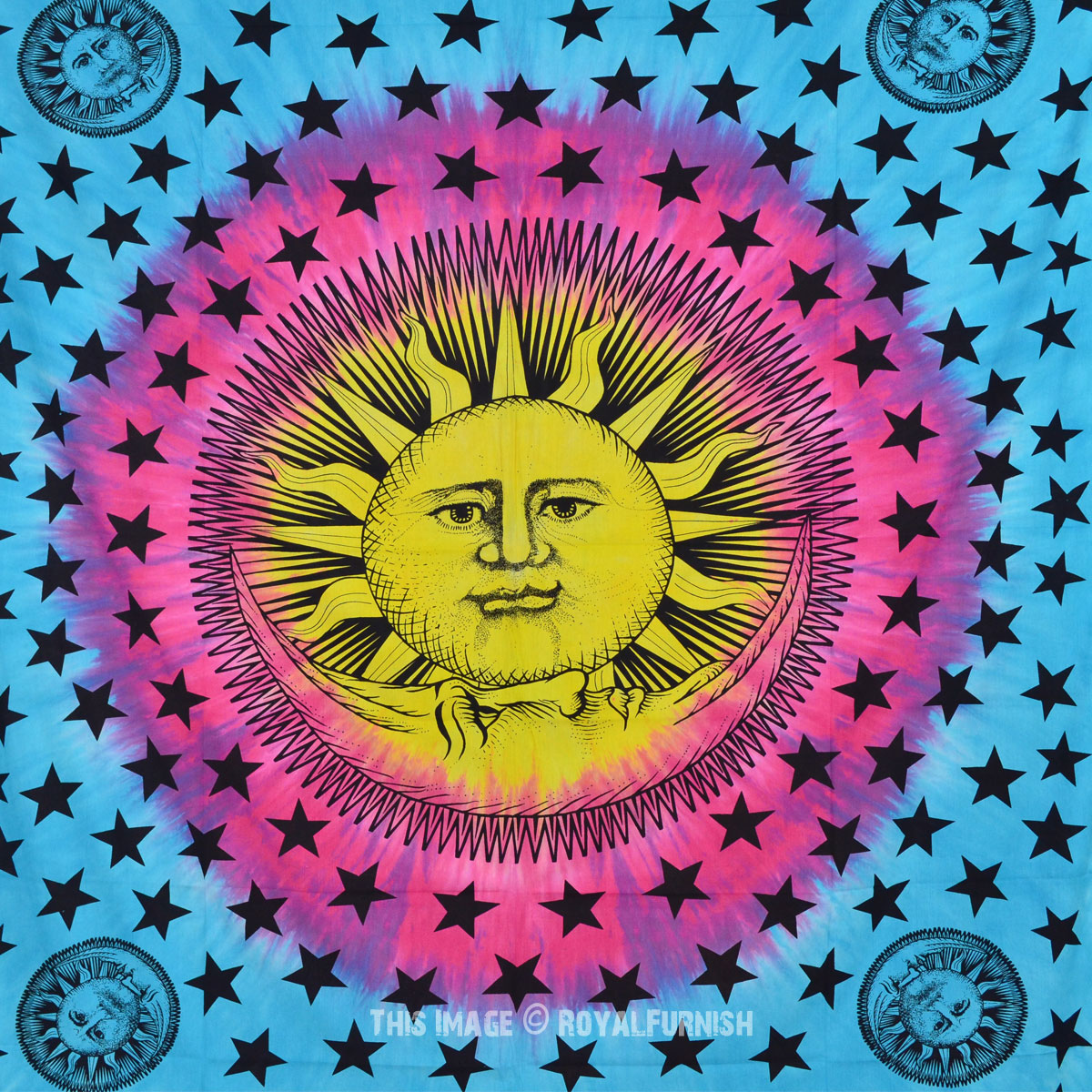 Blue and Yellow Psychedelic Sun Moon Tapestry Tie Dye Hippie Wall Hanging Bedspread - RoyalFurnish.com