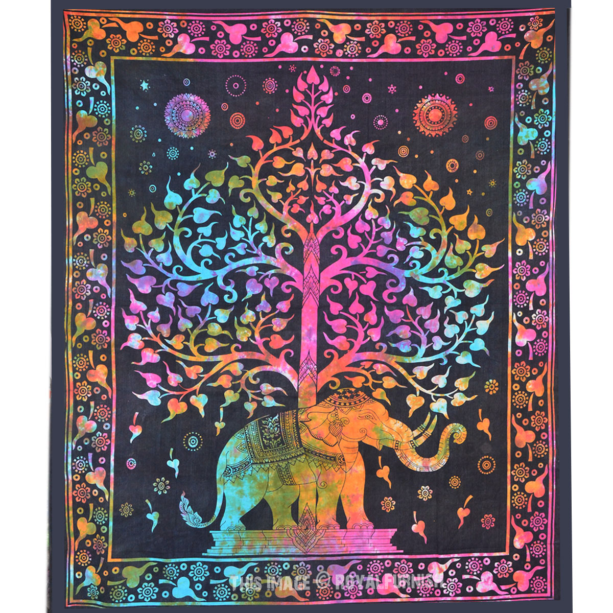 Tie Dye Colorful Elephant Tree Tapestry Wall Hanging