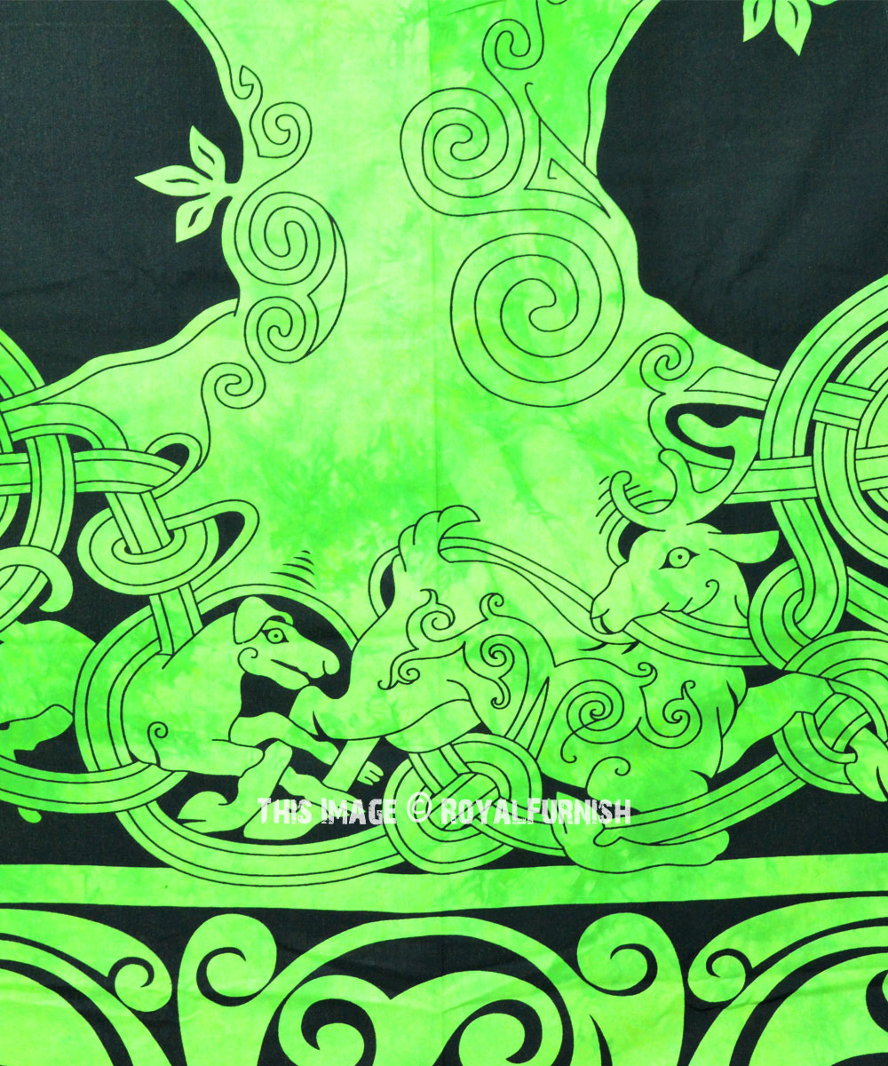 Green Celtic Tree Of Life Tapestry Wall Hanging Bedspread Bedding Royalfurnish Com