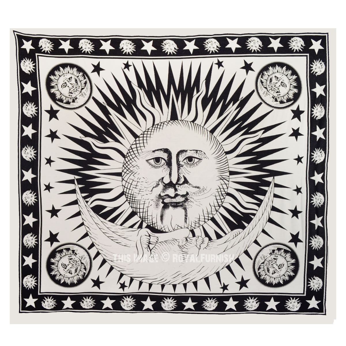 Black and White Sun and Moon Stars Tapestry Wall Hanging ...