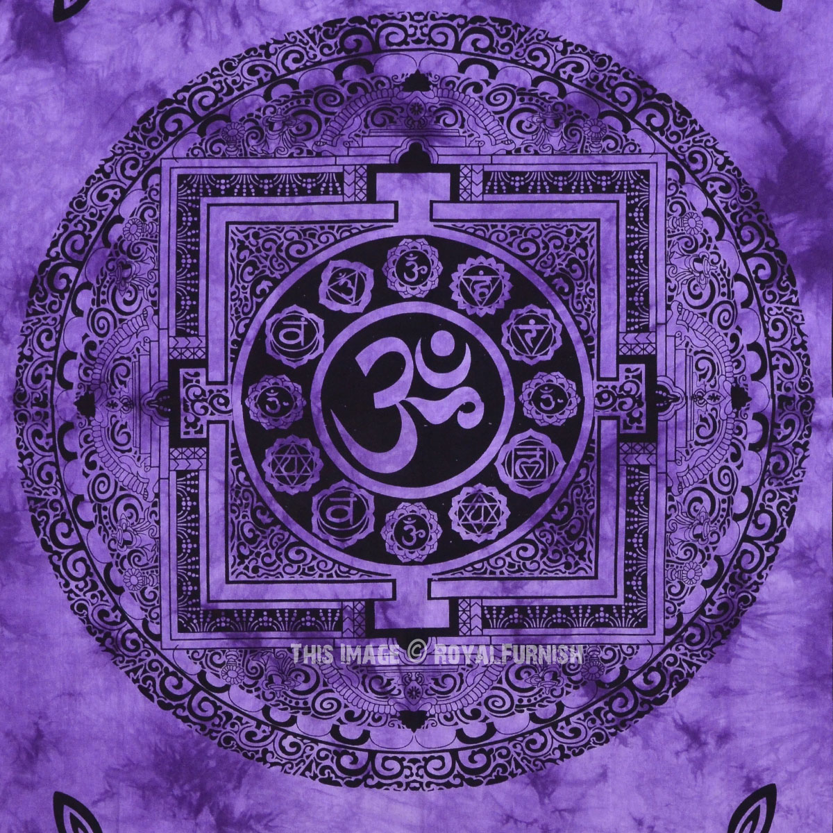 Purple Aum Yoga Meditation Om Symbol Tapestry Wall Hanging
