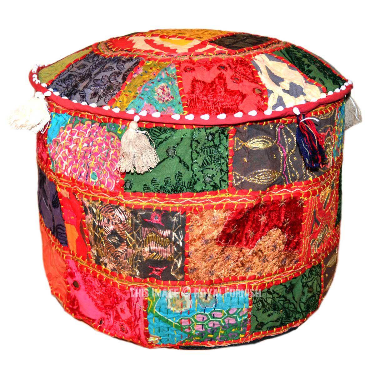 red multi patchwork style indian unique pouf ottoman. Black Bedroom Furniture Sets. Home Design Ideas
