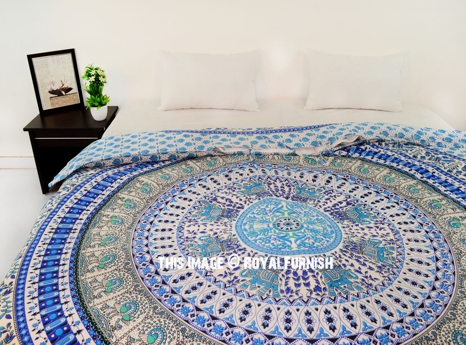 White Blue Birds And Elephant Circle Bohemian Mandala