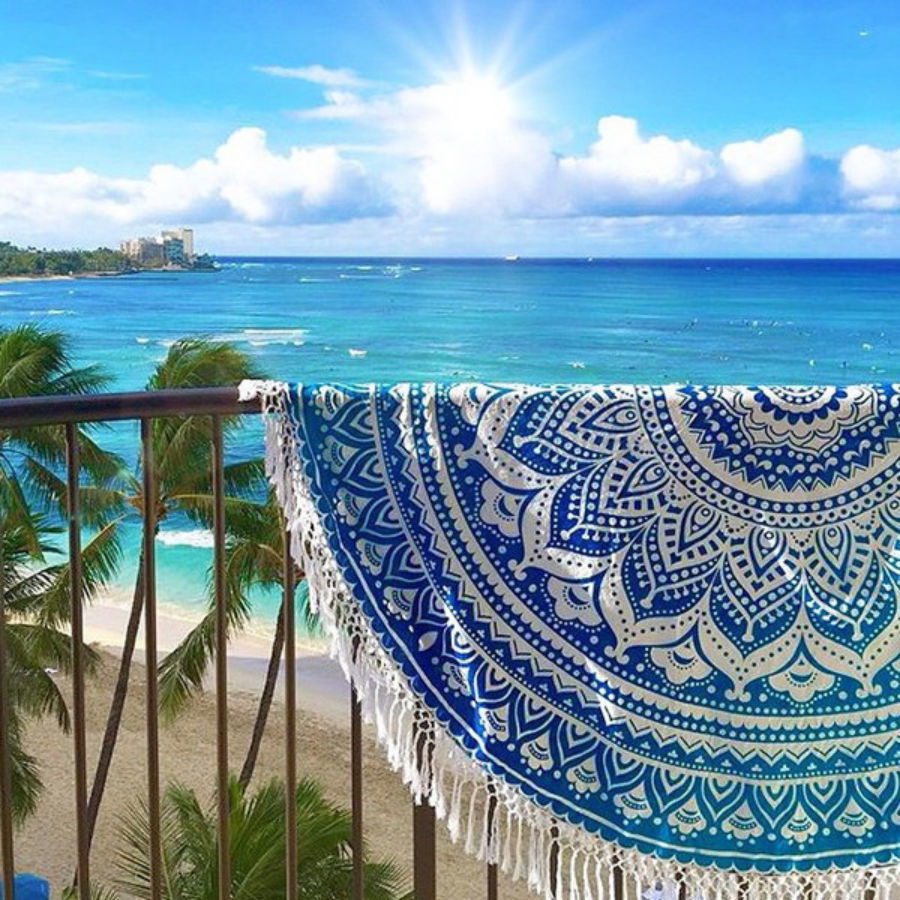 Beach: White & Blue Ombre Theme Round Mandala Beach Throw Roundie Towel