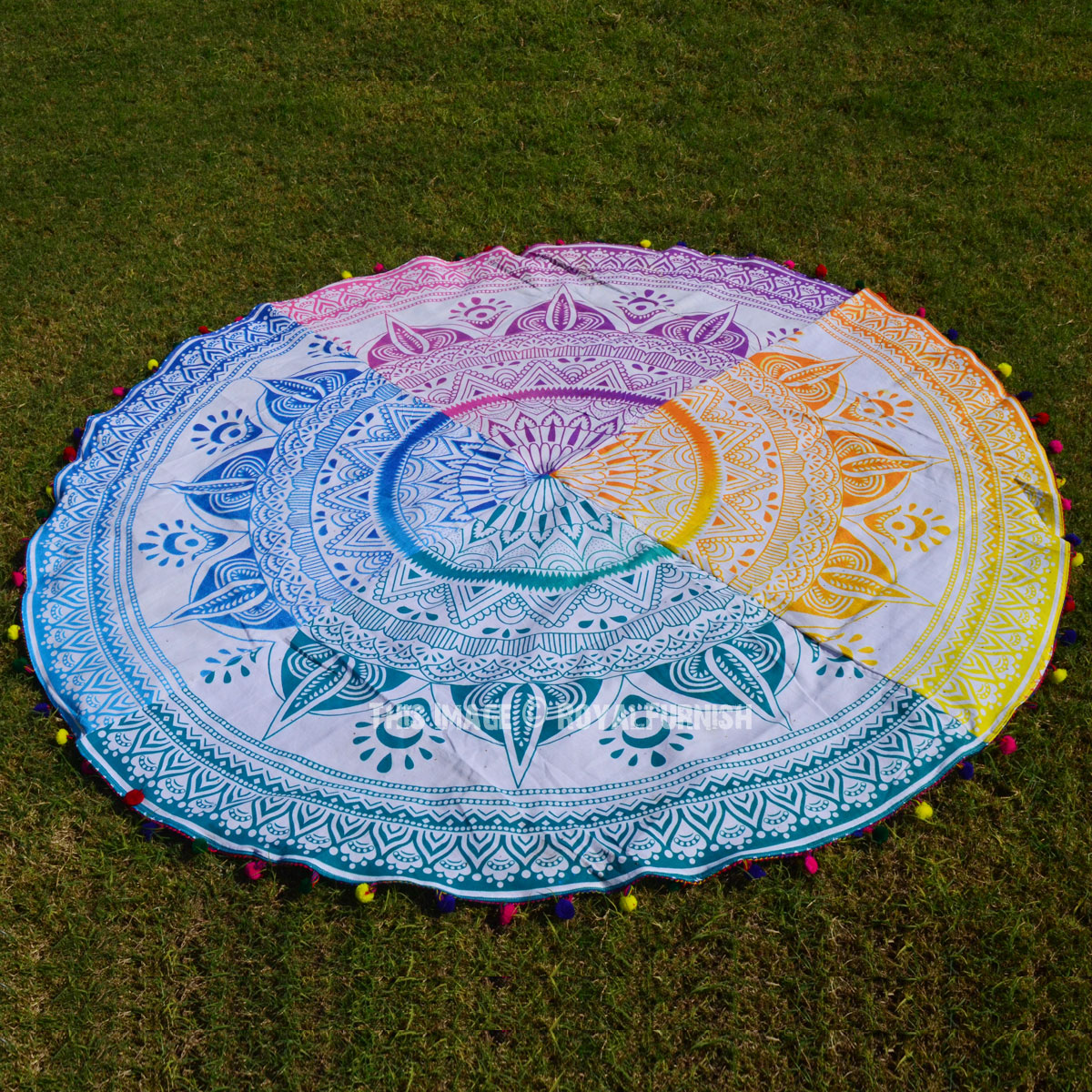Colorful Pom Pom Ombre Round Mandala Beach Towel