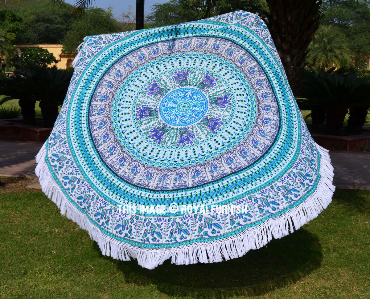 White Multi Birds Circle Mandala Round Beach Towel
