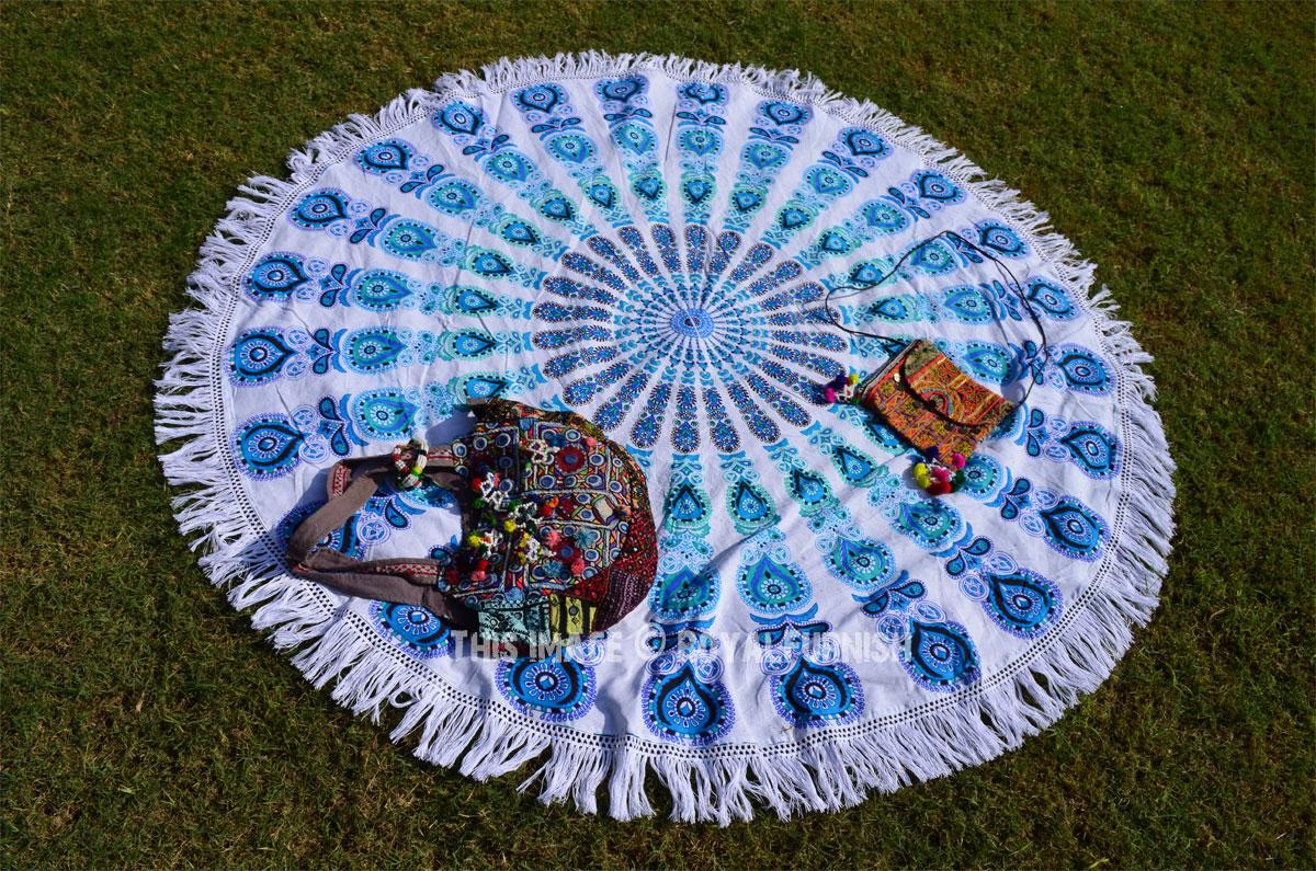 White Blue Dess Mandala Round Beach Roun Fringed Throw Royalfurnish