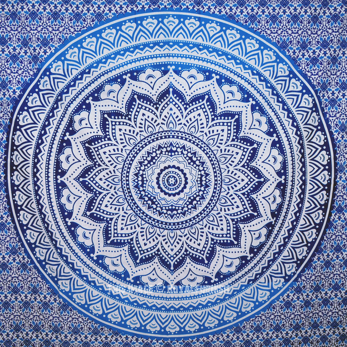 Hippie Home Decor Small Blue Goddess Ombre Mandala Tapestry Floral Wall